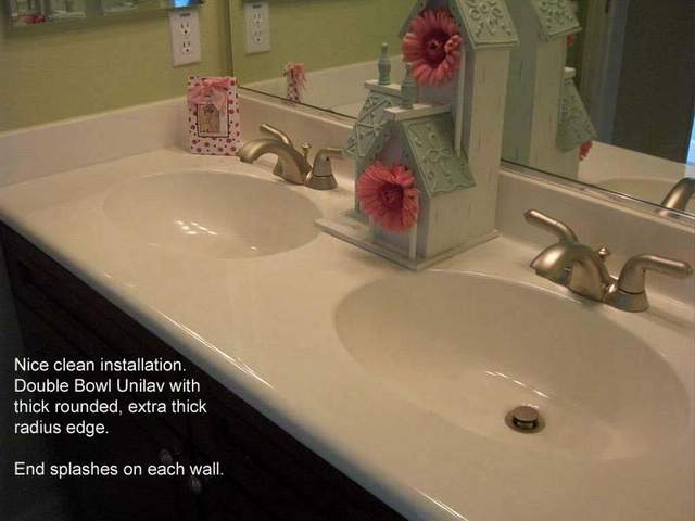 Double Bowl Cultured Marble Vanity Top ...