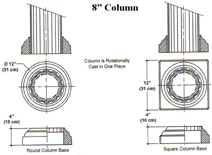 "8"" X 96"" (or 108"" or 120"") Rotational Column Mold-Cast in one piece. Round or Square Base."