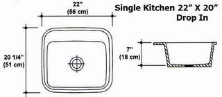 "22"" X 20"" Single Bowl Kitchen Sink Mold"