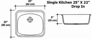 "25"" X 22"" Single Bowl Drop-In Kitchen Sink Mold"