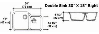 "30"" X 18"" Double Bowl Kitchen Sink Mold"