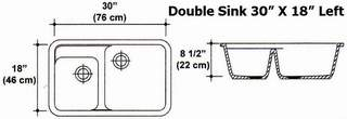 "30"" X 18"" Right Double Bowl Kitchen Sink Mold"