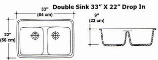 "33"" X 22""Double Bowl Drop-In Kitchen Sink Mold"