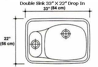 "33"" X 22"" Double Bowl Drop-In Kitchen Sink Mold"