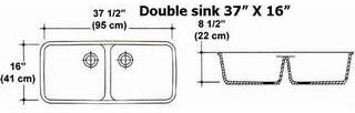 "37"" X 16"" Double Bowl Kitchen Sink Mold"