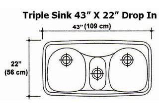 "43"" X 22"" Triple Bowl Drop-In Kitchen Sink Mold"