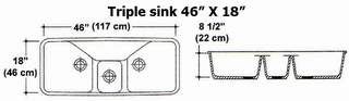 "46"" X 18"" Triple Bowl Kitchen Sink Mold"