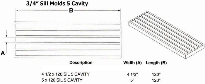 "Five Cavity 3/4"" Flat Window Sill Mold"