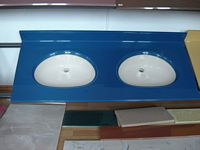"Completed Two-Tone Cultured Marble Double Bowl Vanity Top made from 144"" Adjustable No Bowl All Purpose"